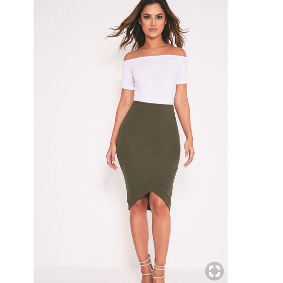 0405674ff PrettyLittleThing Skirts | Gabriella Khaki Wrap Hem Midi Skirt ...